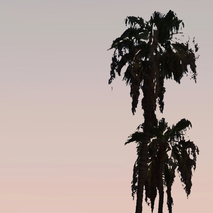 California Sunset // Palm Tree Silhouette Street View Orange and Blue Color Sky Beach Photography Leggings