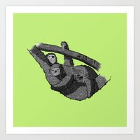 sloths Art Prints featuring Newspaper Sloths by Doolin