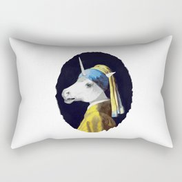 Unicorn with a Pearl Earring Rectangular Pillow