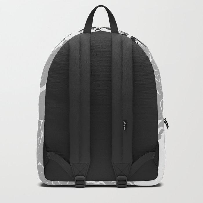 Marble circle minimal design suminagashi japanese marbling minimalist art grey black and white Backpack
