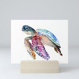 Sea Turtle, swimming turtle art, purple blue design animal art Mini Art Print