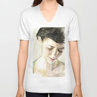 amelie V-neck T-shirts featuring Amelie Poulain  by Stefan Harris
