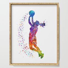 Girl Basketball Player Colorful Watercolor Sports Gift Olympics Game Serving Tray