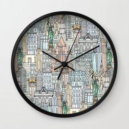 New York watercolor Wall Clock