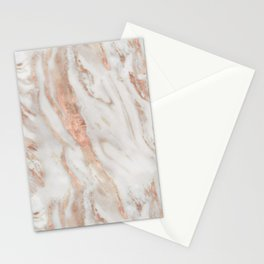 Rose Gold and White Marble 1 Stationery Cards