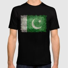 Pakistani flag, vintage retro style MEDIUM Black Mens Fitted Tee