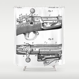 Bolt Action Rifle Patent - Repeating Receiver Art - Black And White Shower Curtain