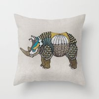 rhino Throw Pillows featuring Rhino by farah allegue