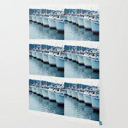 Fishing Boats in a Row Wallpaper