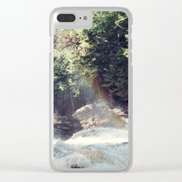 a rainbow at the falls Clear iPhone Case