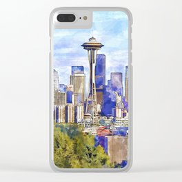 Seattle View in watercolor Clear iPhone Case