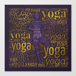 Yoga Pattern around Asana in Gold and Purple Canvas Print