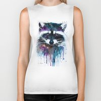 raccoon Biker Tanks featuring Raccoon by Slaveika Aladjova