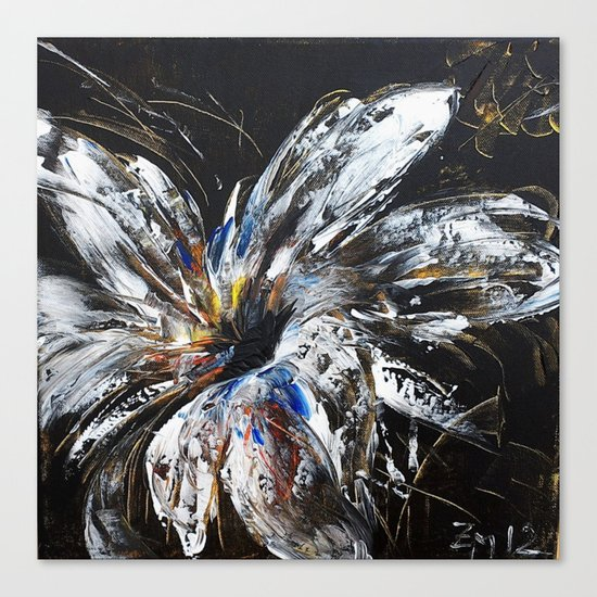 white flower on black background, painted Canvas Print