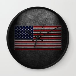 American Flag Stone Texture Wall Clock