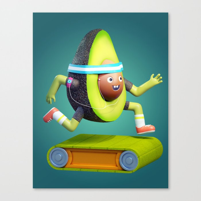 Running Avocado Canvas Print