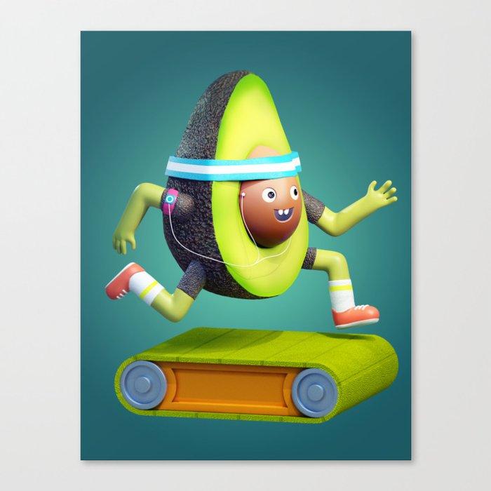 Running Avocado Canvas Print