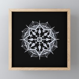 Snowflake on Black Framed Mini Art Print