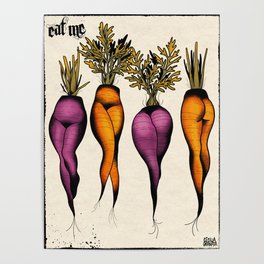 Sexy carrots botanical chart tattoo flash Poster