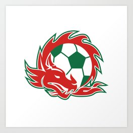 Welsh Dragon Soccer Ball Art Print
