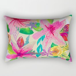 Azalea Garden // Natural Rectangular Pillow