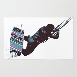 Kite And Surfboard Freestyle Silhouette Vector Rug