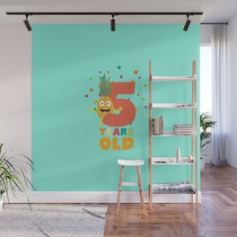 Five Years fifth Birthday Party Pineapple Dihy2 Wall Mural