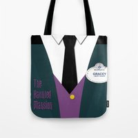 haunted mansion Tote Bags featuring The Haunted Mansion Uniform by Tom Storrer