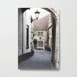 A quaint alley in the beguinage Metal Print