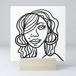 Determined Sista in Lines Mini Art Print