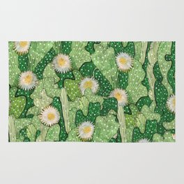 Cacti Pattern, Green and White Rug