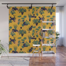 Cats and Houseplants: Yellow Wall Mural
