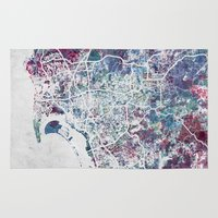 san diego Area & Throw Rugs featuring San Diego map by MapMapMaps.Watercolors