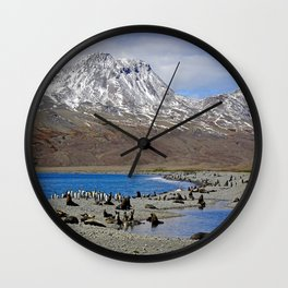 Fur Seals, King Penguins and Snowy Mountains Wall Clock
