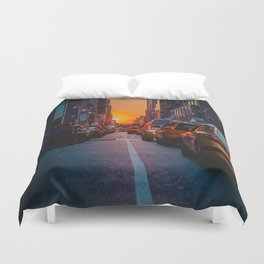 New York City Taxi Sunset (Color) Duvet Cover