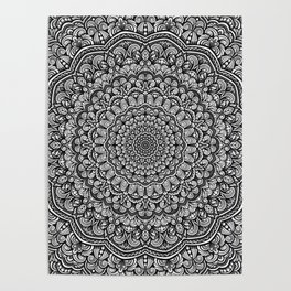 Gray colors mandala Sophisticated black and white ornament Poster