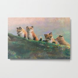 Red Fox Kits First Outing Metal Print