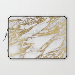 Chic Elegant White and Gold Marble Pattern Laptop Sleeve