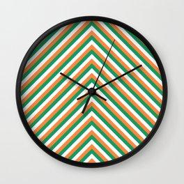 Orange White and Green Irish Chevron Stripe Wall Clock