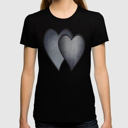 Two hearts. denim photocollage T-shirt