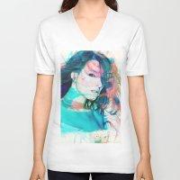 feminism V-neck T-shirts featuring Feminism by Oana Popan