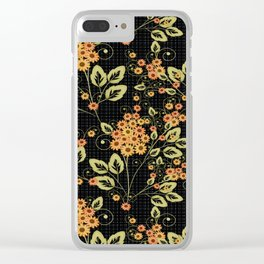 Bright floral pattern on a black background. Clear iPhone Case