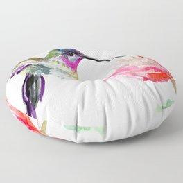 Little Hummingbird and Pink Flower, Bird art, minimalist bird painting, soft pink olive green design Floor Pillow