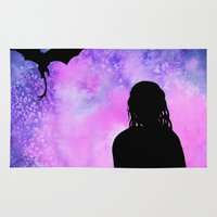mother of dragons Area & Throw Rugs featuring Mother of Dragons Silhouette over Purple Watercolor by Jessica Barst