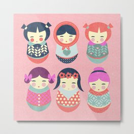 Babushka Russian doll pattern Metal Print