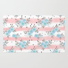 Pink teal watercolor modern stripes floral dots Rug