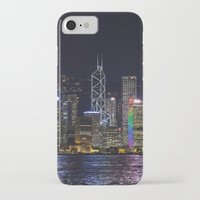 hong kong iPhone & iPod Cases featuring Hong Kong Night Skyline by Deborah Janke
