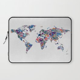 Moroccan Tile Mosaic Pattern World Map Art Laptop Sleeve