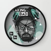 breaking bad Wall Clocks featuring Breaking Bad by Sophie Bland