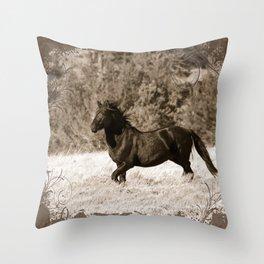 Free Runner - Sepia Throw Pillow